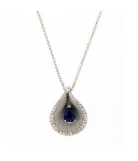 Collana con Diamanti 0,12 ct e Zaffiro 0,34 ct