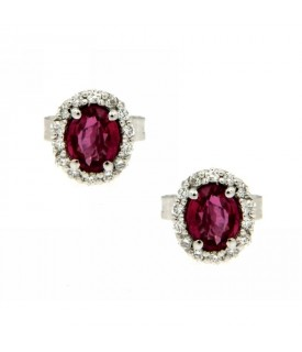 Orecchini con Diamanti 0,11 ct e Rubini 0,53 ct