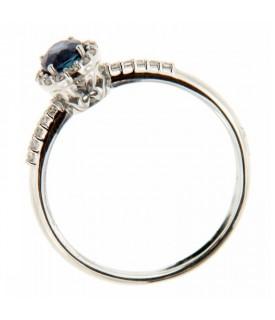 Anello Solitario con Diamanti 0,10 ct e Zaffiro 0,46 ct