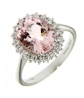 Anello con Morganite 7,00 ct e Diamanti 0,46 ct