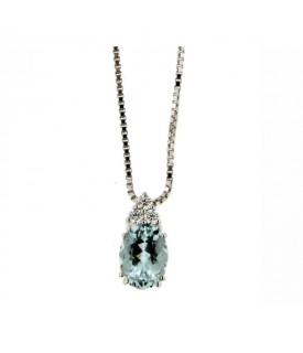 Collana Acquamarina 1,11 ct e Diamanti 0,09 ct