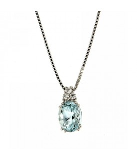 Collana Acquamarina 1,87 ct e Diamanti 0,09 ct