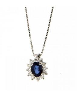 Collana Zaffiro 0,37 ct  e Diamanti 0,16 ct