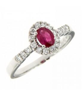 Anello Diamanti 0,26 ct e Rubino 0,41 ct