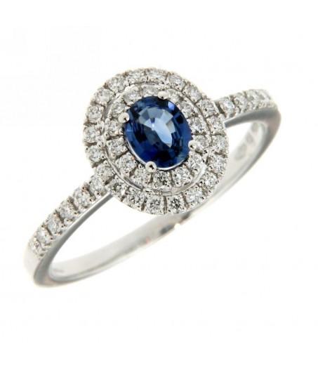 Anello Diamanti 0,32 ct e Zaffiro 0,54 ct