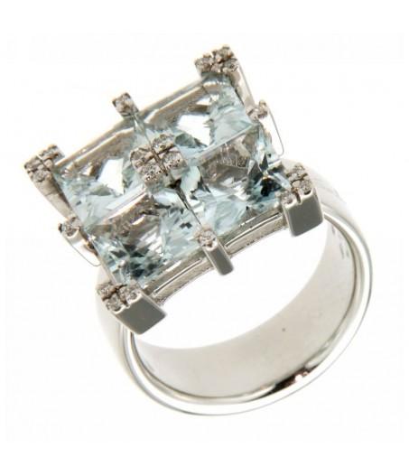 Anello Diamanti 0,16 ct e Acquamarina 1,30 ct