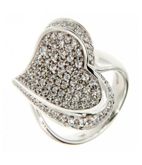 Anello cuore con cubic zirconia