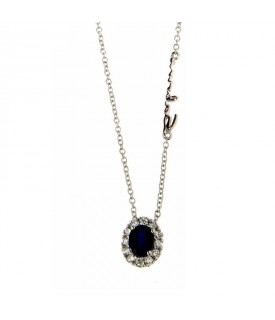 Collana Diamanti 0,13ct e Zaffiro 0,48ct