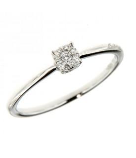 Anello Oro Bianco con Diamanti 0,06 ct