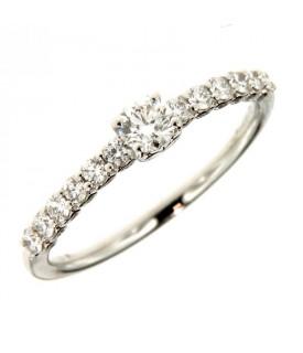 Anello in Oro Bianco con Diamanti 0,18 ct