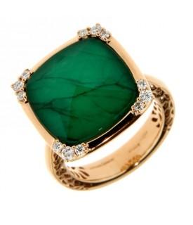 Anello con Diamanti 0,23 ct e Smeraldo 1,10 ct
