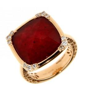 Anello con Diamanti 0,23 ct e Rubino 1,20 ct