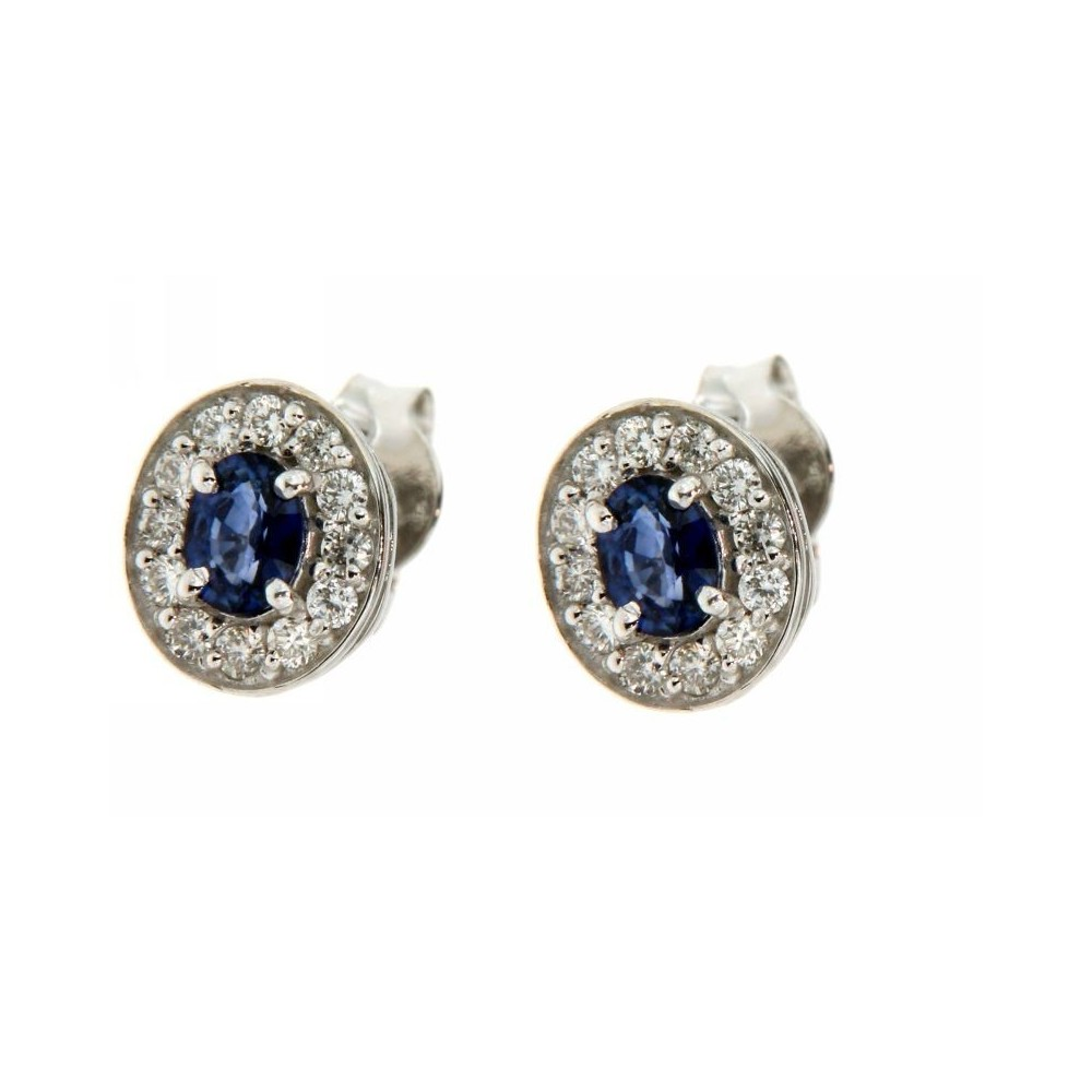Orecchini con Diamanti 0,26 ct e Zaffiro 0,50 ct