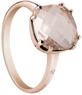 Anello Quarzo Rosa e Diamante 0,005 ct
