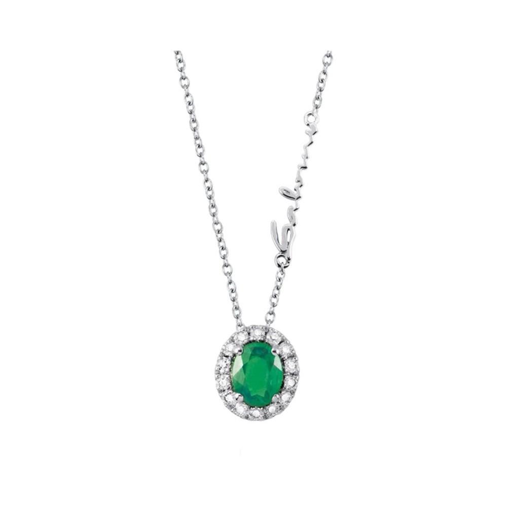 Collana Diamanti 0,09 ct e Smeraldo 0,29 ct