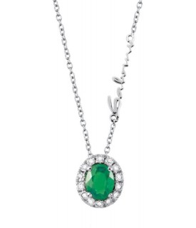 Collana Diamanti 0,09 ct e Smeraldo 0,29 ct