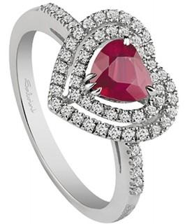 Anello Diamanti 0,32ct e Rubino 0,54ct