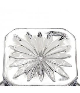Portaliquore quadro grigliato cristallo e argento