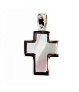 Ciondolo Croce in Oro Bianco con Madreperla