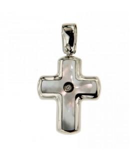 Ciondolo Croce in Oro Bianco con Diamante