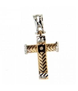 Ciondolo Croce in Oro Bianco e Giallo con Diamante