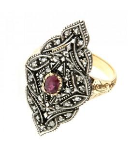 Anello fine 800 rubini e diamanti