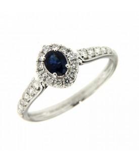 Anello con Diamanti 0,26 ct e Zaffiro 0,33 ct