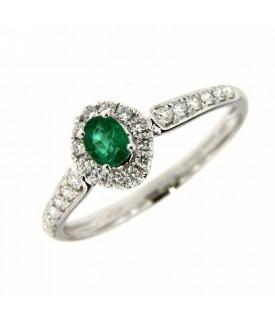 Anello con Diamanti 0,26 ct e Smeraldo 0,33 ct