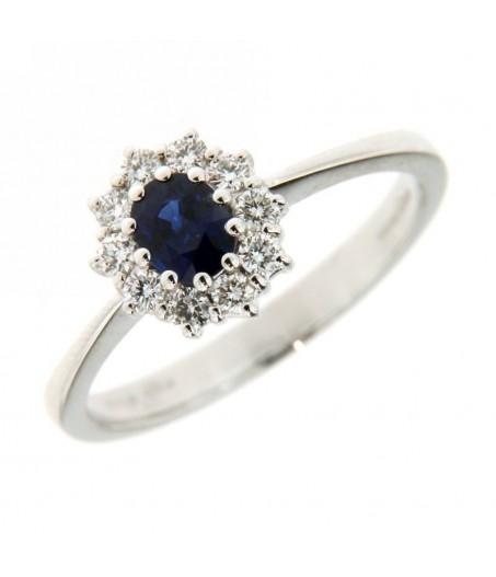 Anello con Diamanti 0,26 ct e Zaffiro 0,50 ct