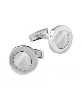 Gemelli in argento con diamanti (ct. 0,01) e madreperla.