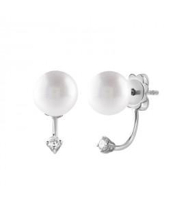 Orecchini in oro bianco con diamanti (ct. 0,10) e perle