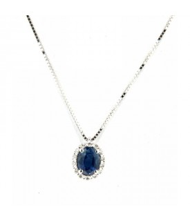 Collana Zaffiro 0,42ct  e Diamanti 0,06ct