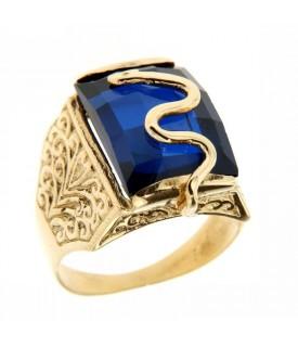 Anello Oro Giallo e Tormalina blu