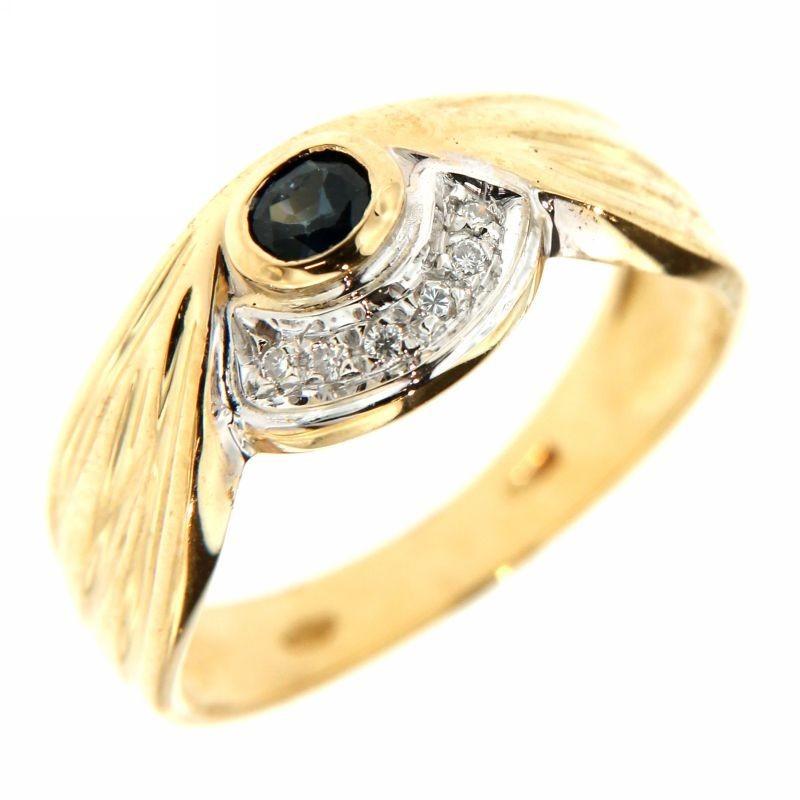 Anello con Diamanti 0,08ct e Zaffiro 0,10ct