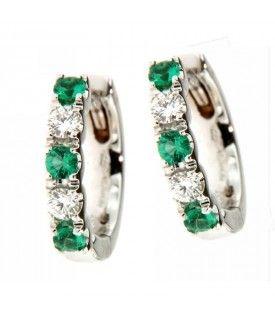 Orecchini cerchi con smeraldi e diamanti