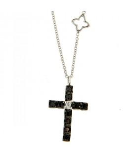 Collana Croce Diamanti neri