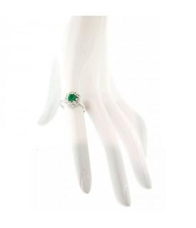 Anello Diamanti 0,53ct e Smeraldo 0,56ct