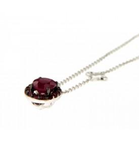 Collana Diamanti 0,02ct e Rubini 1,14ct