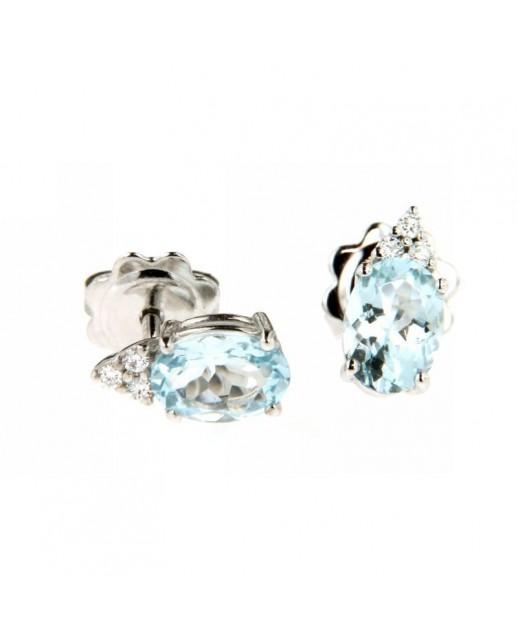 Orecchini acquamarina e diamanti 0,06ct