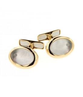 Gemelli in Oro bicolore con diamanti 0,02ct