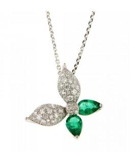 Collana a Farfalla con Diamanti 0,39ct e smeraldi 0,52ct