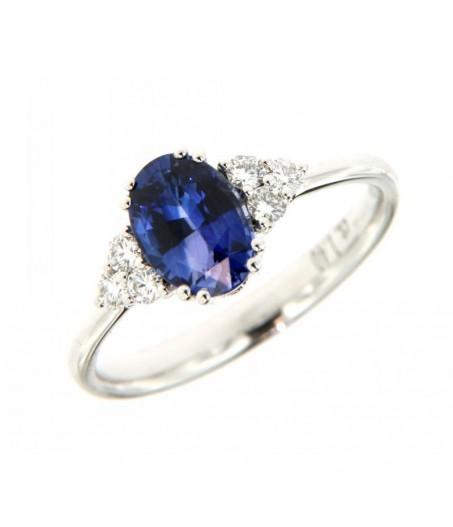 Anello Diamanti 0,19ct e Zaffiro 1,40ct