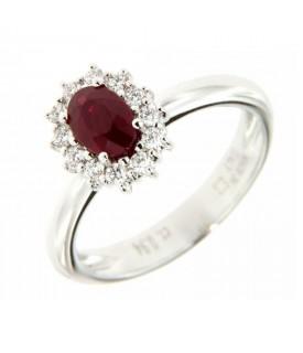 Anello Diamanti 0,24ct e Rubino 0,94ct