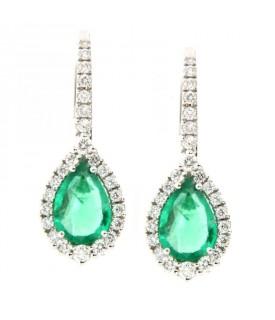 Orecchini con diamanti (ct. 0,34) e smeraldi (ct. 1,20)