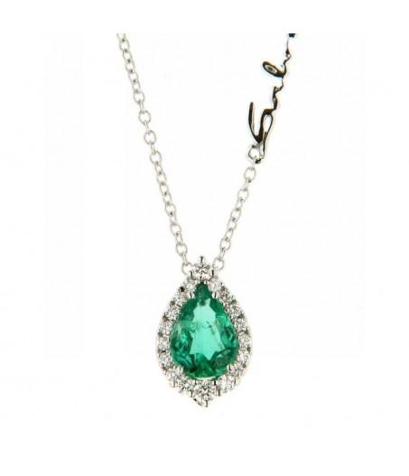 Collana con diamanti (ct. 0,13) e smeraldo (ct. 0,57)