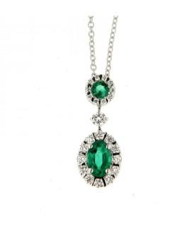 Collana in oro bianco con diamanti (ct. 0,25) e smeraldi (ct. 0,47)