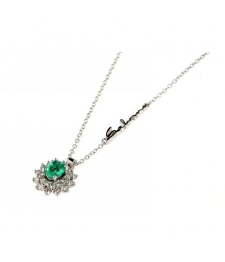 Collana in oro con diamanti (ct. 0,31) e smeraldi (ct. 0,31)
