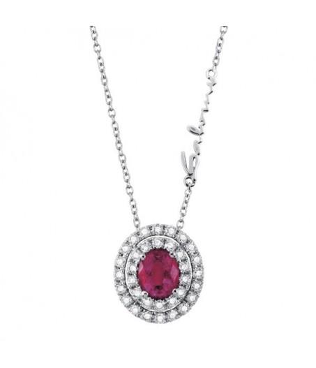 Collana in oro con diamanti (ct. 0,22) e rubino (ct. 0,44)