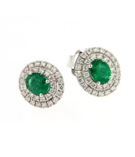 Orecchini in oro bianco con diamanti (ct. 0,46) e smeraldi (ct. 0,61)