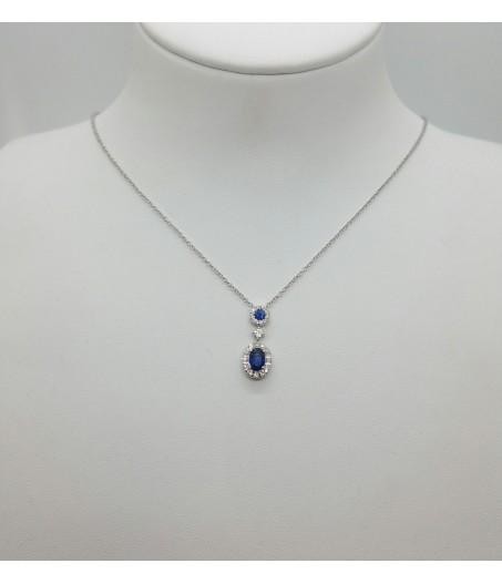 Collana in oro con diamanti (ct. 0,25) e zaffiri (ct. 0,65)